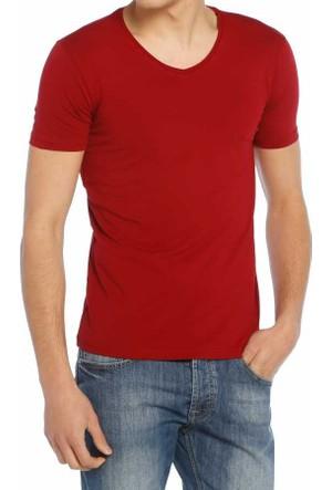 Baruğ V Yaka Düz Renk Likralı Basic Erkek Tişört-T-Shirt 40505-Bordo