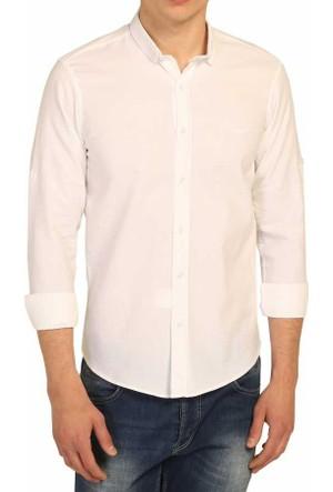 Cca Petek Desenli Likralı Kumaş Slim Fit Erkek Spor Gömlek - 1670-Beyaz