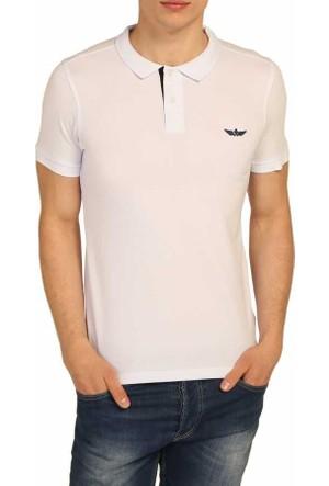 Cca Polo Yaka Düz Renk Basic Erkek Lakos Tişört - 1005-Beyaz