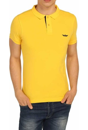 Cca Polo Yaka Düz Renk Basic Erkek Lakos Tişört - 1005-Sarı