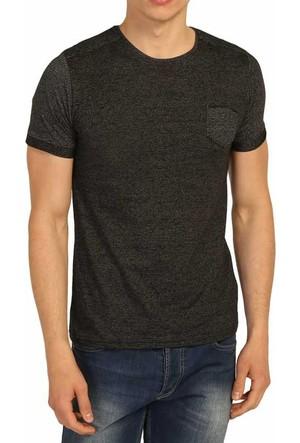 Cca Sıfır Yaka Desenli Likralı Body Erkek Spor Tişört - 3169-Antra