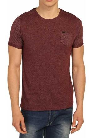 Cca Sıfır Yaka Desenli Likralı Body Erkek Spor Tişört - 3169-Bordo