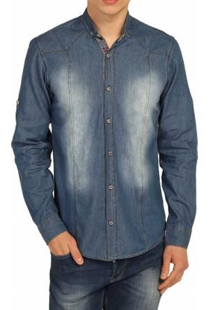 Cca Taşlanmış Desen Katlanabilir Kol Slim Fit Erkek Denim Kot Gömlek - 0126-Blue