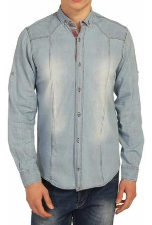 Cca Taşlanmış Desen Katlanabilir Kol Slim Fit Erkek Denim Kot Gömlek - 0126-Dark