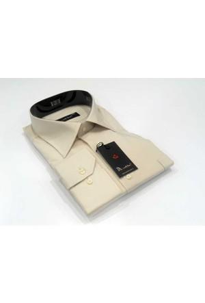 Dicotto Bej Büyük Beden Düz Renk Uzun Kol Klasik Erkek Gömlek - 150-11