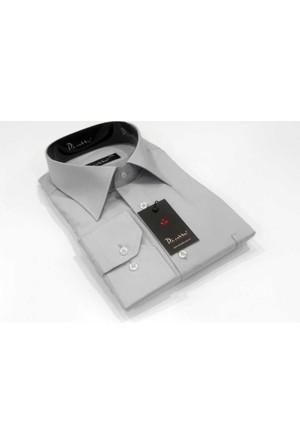 Dicotto Gri Büyük Beden Düz Renk Uzun Kol Klasik Erkek Gömlek - 150-2