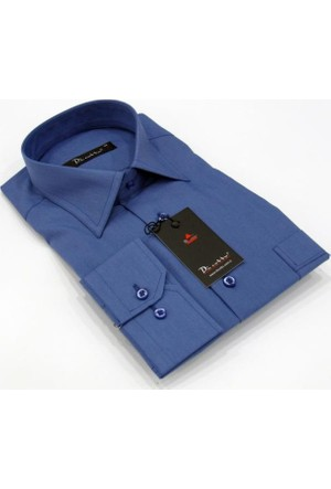 Dicotto İndigo Büyük Beden Düz Renk Uzun Kol Klasik Erkek Gömlek - 150-15