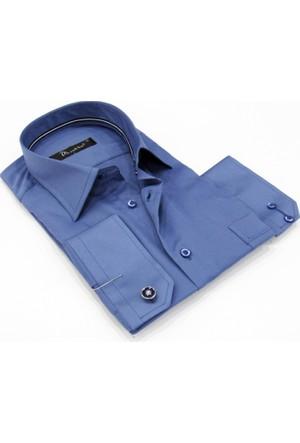 Dicotto İndigo Klasik Kesim Micro Kumaş Kol Düğmeli Erkek Gömlek - 190-5