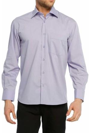 Dicotto Koyu Lila Klasik Kesim Uzun Kol Düz Renk Erkek Gömlek - 150-25