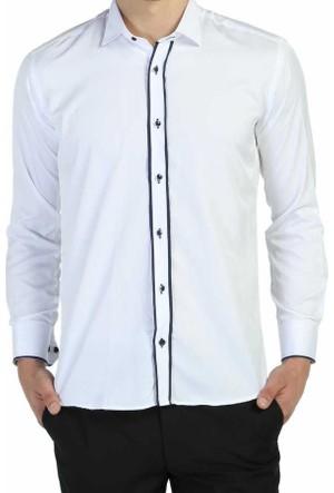 Dicotto Lacivert Bieli Beyaz Ata Yaka Kol Düğmeli Slim Fit Gömlek - Smokin-011-Beyaz