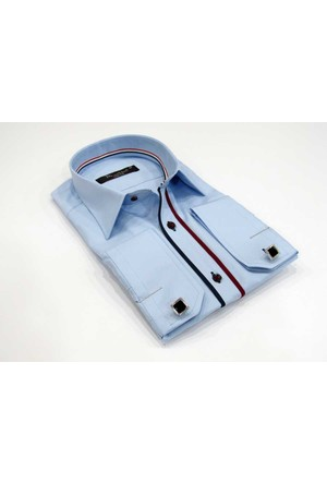 Dicotto Micro Kumaş Kol Düğmeli Slim Fit Mavi Gömlek - 203-4