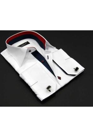 Dicotto Micro Kumaş Kol Düğmeli Slim Fit Düz Beyaz Gömlek - 206-1