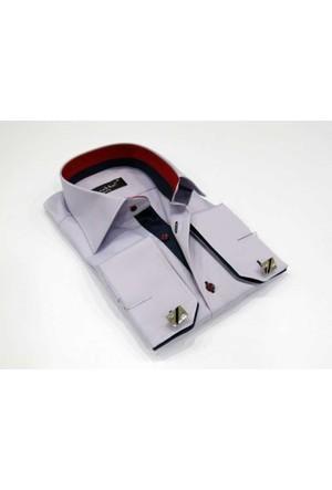 Dicotto Micro Kumaş Kol Düğmeli Slim Fit Düz Lila Gömlek - 206-2