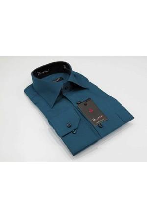Dicotto Petrol Büyük Beden Düz Renk Uzun Kol Klasik Erkek Gömlek - 150-18