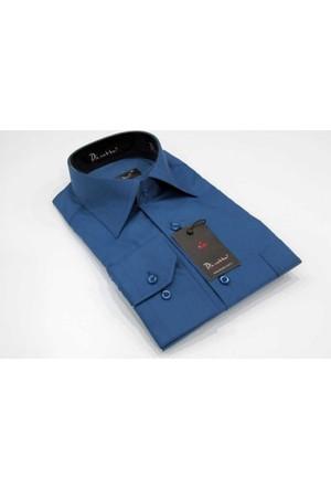 Dicotto Saks Büyük Beden Düz Renk Uzun Kol Klasik Erkek Gömlek - 150-28