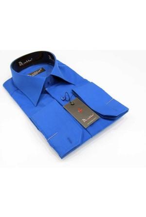 Dicotto Saks Slim Fit Düz Renk Uzun Kol Erkek Gömlek - 151-28