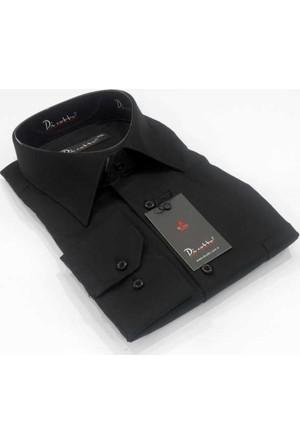 Dicotto Siyah Büyük Beden Düz Renk Uzun Kol Klasik Erkek Gömlek - 150-20