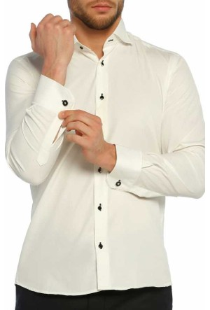 Dicotto Siyah Taş Düğmeli Krem Ata Yaka Kol Düğmeli Slim Fit Gömlek - Smokin-008-Krem
