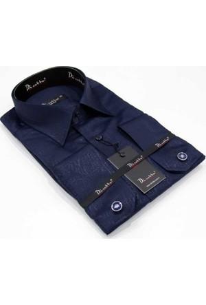 Dicotto Yakma Desen Micro Kumaş Kol Düğmeli Slim Fit Gömlek - Lacivert 223-12