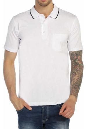 Dynamo Büyük Beden Polo Yaka Düz Renk Erkek Tişört - Battal-724B-Beyaz