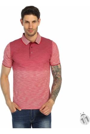 Dynamo Çift Renk Desenli Polo Yaka Likralı Erkek Tişört-T-Shirt - T112-Kırmızı