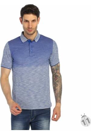Dynamo Çift Renk Desenli Polo Yaka Likralı Erkek Tişört-T-Shirt - T112-Saks