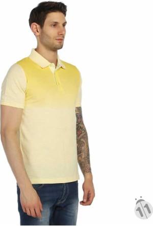 Dynamo Çift Renk Desenli Polo Yaka Likralı Erkek Tişört-T-Shirt - T112-Sarı