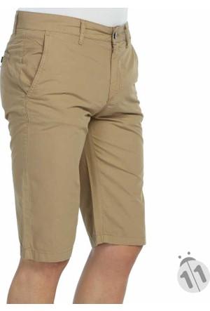 Dynamo Düz Renk Erkek Keten Kapri Şort - Casper-Camel