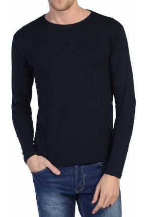 Dynamo Lacivert Sıfır Yaka Likralı Uzun Kol Basic Body Sweatshirt - 6285-Lacivert