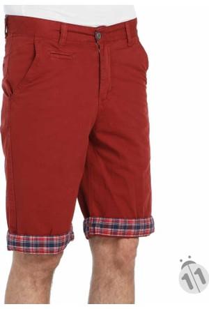 Dynamo Paçası Kombinli Düz Renk Erkek Keten Kapri Şort - 311-Kırmızı