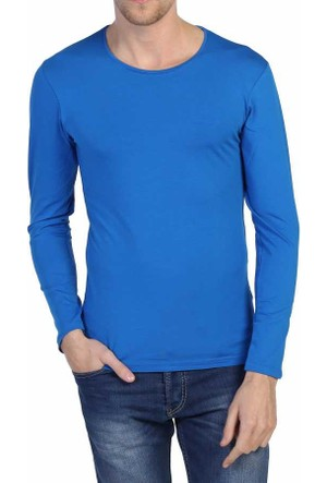Dynamo Saks Sıfır Yaka Likralı Uzun Kol Basic Body Sweatshirt - 6285-Saks