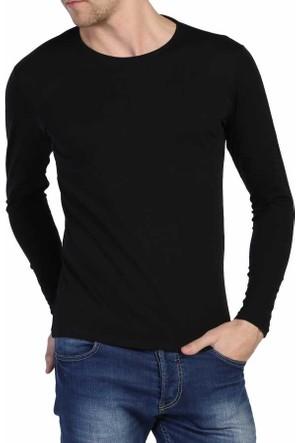 Dynamo Siyah Sıfır Yaka Likralı Uzun Kol Basic Body Sweatshirt - 6285-Siyah