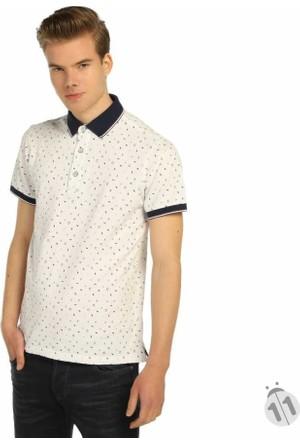 Mcl Baskı Desenli Polo Yaka Likralı Erkek Lakos Tişört - 28807-Beyaz