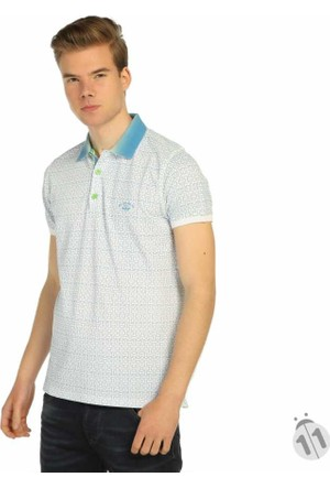 Mcl Baskı Desenli Polo Yaka Likralı Erkek Penye Tişört - 24943-Beyaz