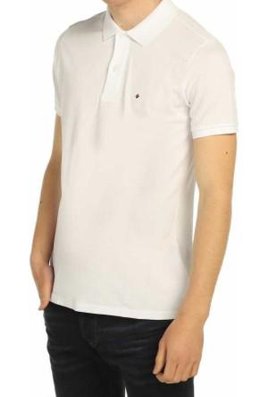 Mcl Büyük Beden Polo Yaka Düz Renk Basic Erkek Lakos Tişört - B-24958-Beyaz