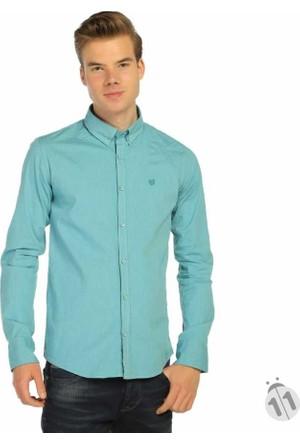 Mcl İnce Çizgili Desen Likralı Erkek Spor Gömlek - 25398-Turkuaz