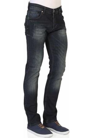 Mcl Likralı Slim Fit Normal Bel Taşlamalı Erkek Denim Kot Pantolon - 30027-Blue