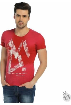 Mcl Önü Baskılı Sıfır Yaka Erkek Likralı Penye Tişört - 20093-Kırmızı