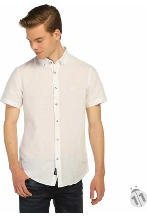 Mcl Pamuk Keten Regular Fit Kısa Kol Erkek Spor Gömlek - 25569-Beyaz