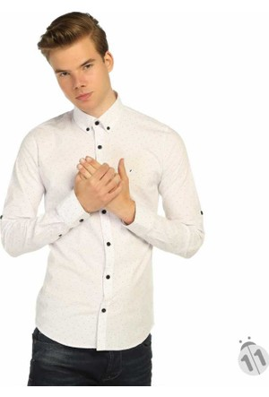 Mcl Puantiye Desen Dar Kesim Likralı Erkek Spor Gömlek - 25552-Beyaz