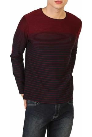 Mcl Sıfır Yaka Çizgili Model Likralı Spor Erkek Sweatshirt - Mcl-29139-Bordo