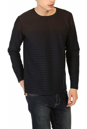 Mcl Sıfır Yaka Çizgili Model Likralı Spor Erkek Sweatshirt - Mcl-29139-Kahve