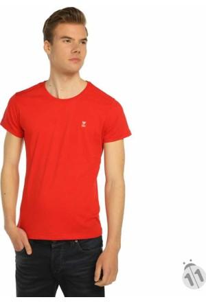 Mcl Sıfır Yaka Düz Renk Basic Erkek Tişört-T-Shirt - 22670-Kırmızı