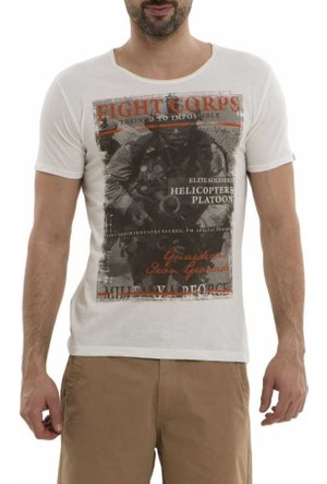 Xint Baskılı Sıfır Yaka Likralı Basic Erkek Tişört - T-Shirt 500556-Beyaz