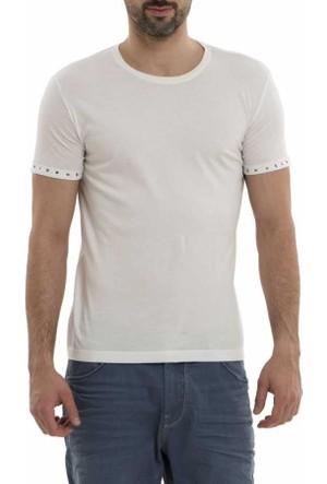 Xint Baskılı Sıfır Yaka Likralı Basic Erkek Tişört - T-Shirt 500544-Beyaz