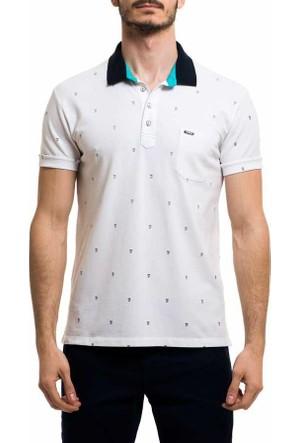 Xint Polo Yaka Baskili Erkek Lakos Tişört-T-Shirt - 500749-Beyaz