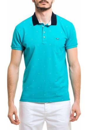 Xint Polo Yaka Baskili Erkek Lakos Tişört-T-Shirt - 500749-Turkuaz