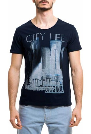 Xint Sıfır Yaka Baskili Spor Erkek Tişört-T-Shirt - 500762-Lacivert