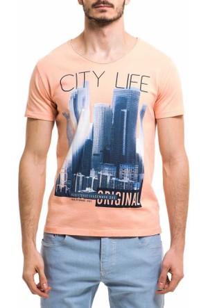 Xint Sıfır Yaka Baskili Spor Erkek Tişört-T-Shirt - 500762-Somon