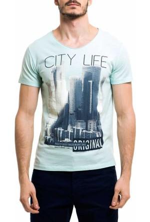 Xint Sıfır Yaka Baskili Spor Erkek Tişört-T-Shirt - 500762-Yeşil